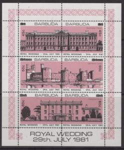 BARBUDA SG677ba 1983 ROYAL WEDDING SURCHARGES SHEETLET ROSE-PINK p14½ MNH