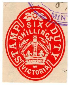 (I.B) Australia - Victoria Revenue : Impressed Stamp Duty 6/-