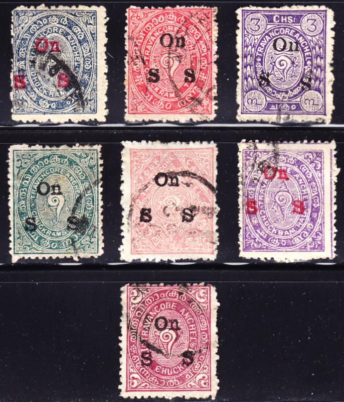 India Travancore Scott O1-O7  complete sets  F to VF used.