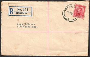 NEW ZEALAND 1948 GVI 6d on local WHAKATANE registered cover................14879