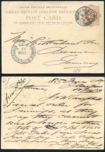 CP8 QV 1d Brown Postcard Format CF5 Stamp L4 Size E Used Glasgow CDS