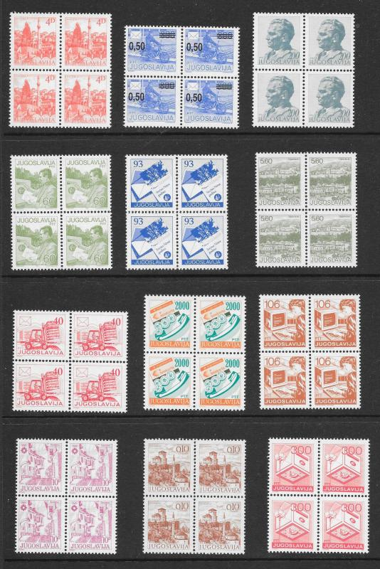 YUGOSLAVIA (160) Mint Never Hinged Stamps in Blocks (40) of 4
