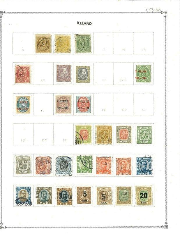 Iceland 1876-1939 - 63 stamps M & U Hinged