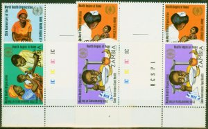 Zambia 1973 25th Anniversary W.H.O Set of 4 in Fine MNH Gutter Pairs