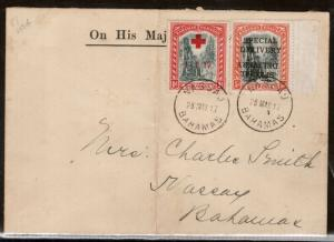 Bahamas #E1c Very Fine Used On Rare Cover With #B1 Double Overprint One Inverted