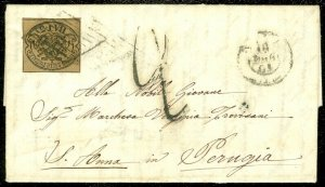 EDW1949SELL : ITALIAN STATES Roman States Choice XF Sc #4 on 1861 folded letter