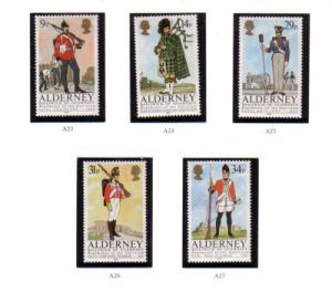 Alderney Sc 23-27 1985 Uniforms stamp set mint NH