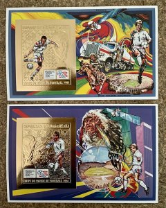 Stamps Gold Deluxe Bloc + S/S Football Worldcup USA 94 Madagascar Imperf.