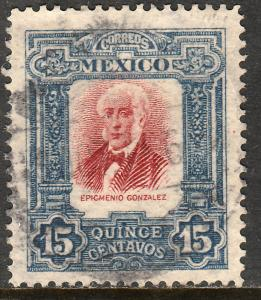 MEXICO 316, 15cs INDEPENDENCE CENTENNIAL 1910 COMMEM USED. F-VF. (223)