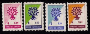 PARAGUAY (1961) SCOTT #619-622 UPROOTED OAK EMBLEM SET OF FOUR VF