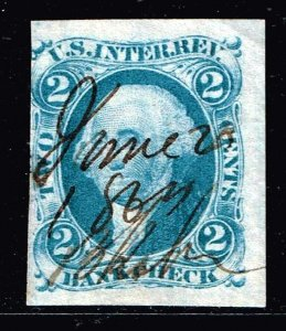 US STAMP #R5A 2c BANK CHECK 1862 Revenue Stamp imperf stamp