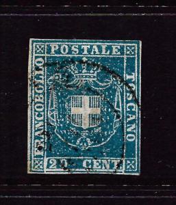 TUSCANY  1860  20c  DEEP BLUE  FU      SG 45  Sc 20a