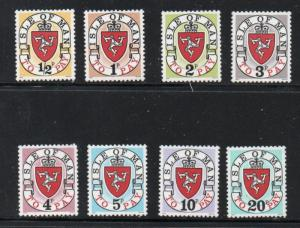 Isle of Man Sc J1-8 1973 1st postage due stamp set mint NH