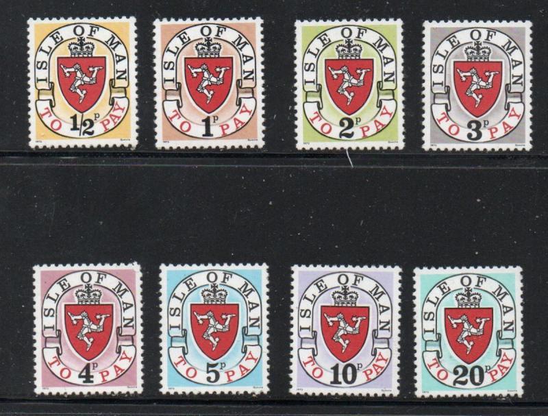 Isle of Man Sc J1-8 1973 1st postage due stamp set mint NH
