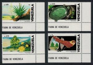 Venezuela Oilbird Nightjar Turtle Cacti Birds and Flora 4v Corners SG#2471-2474