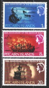 Pitcairn Islands. 1967. 85-87. In memory of Admiral Beagle, sailing ship. MVLH.