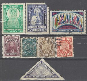 COLLECTION LOT # 3663 BOLIVIA 8 STAMPS 1890+ CV+$14