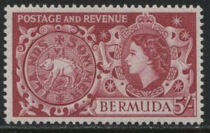 Bermuda QEII 1953 5/ deep carmine rose mint o.g.