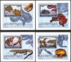 {082} Togo 2010 Reptiles Snakes Lizards 4 S/S Deluxe MNH**