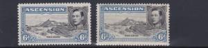 ASCENSION 1938-51  SG 43 + 43B  2X 6D VALUES  MH