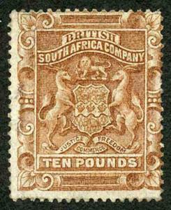 Rhodesia SG13 1892 Ten Pound Brown Regummed (grubby)