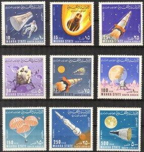 {AM011} Aden / Mahra 1967 Space set of 9 MNH** Mi: 58/66 7,50 Eur.