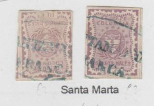 O) 1867 COLOMBIA, 10 CENTAVOS LILAC, SG 45, SANTA MARTA, XF