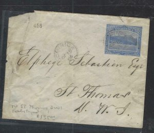 DOMINICA  COVER (P1902B)  1905 2 1/2D COVER TO ST THOMAS DWI ARRIVAL BACK STAMP