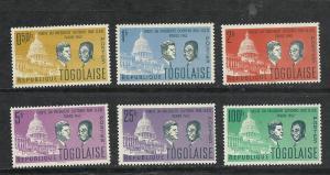 Togo #432-7 comp mnh cv $3.00 John Kennedy
