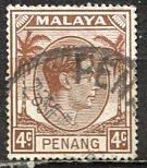 Malaya Penang; 1949: Sc. # 6; O/Used Single Stamp