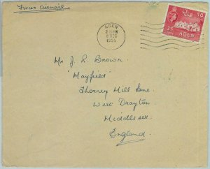 90561 -  ADEN - POSTAL HISTORY -  Single stamp on COVER  to  ENGLAND 1955