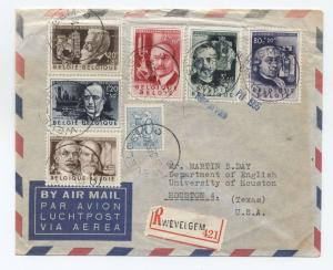 1955 Belgium scientists set B573-8 on registered airmail cover [y2489]