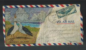 1941 USA Gooney Bird Cachet Midway Island Pacific to San Francisco CA