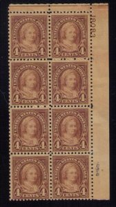 US Sc 636 MNH (P# BLOCK OF 4X2)W.PF CERTIFICATE NO.529065 $250