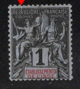FRENCH INDIA  Scott 1 MH* 1892 Navigation and Commerce stamp margin tear at top