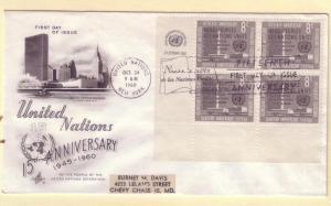 United Nations FDC Sc. # 84 X 4 15th Anniversary   L 91