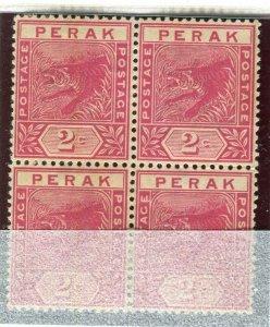 MALAYA PERAK; 1892 early classic Tiger issue Mint unused 2c. BLOCK