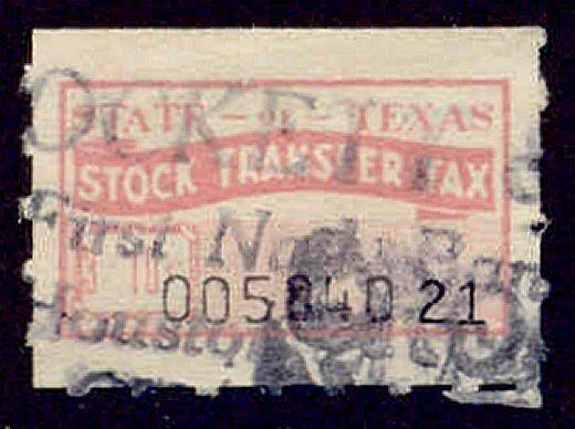 Texas State Revenue Stamp 3/10c Stock Transfer Tax # ST12