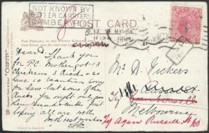 VICTORIA 1906 postcard NOT KNOWN BY LETTER CARRIER CAMBERWELL..............63730