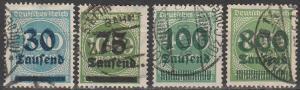 Germany #249, 252, 254, 266 F-VF Used CV $8.55 (B12165)