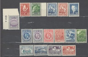 COLLECTION LOT # 4391 DENMARK 16 MNH STAMPS CV+$15