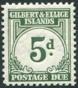GILBERT & ELLICE ISLANDS-1940 5d Grey-Green Postage Due Sg D5 MOUNTED MINT