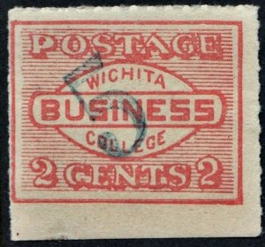 Drummond WBC1 2¢ Wichita Business College Stamp; 5¢ Surcharge? (c1910) MNH