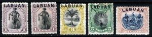 LABUAN QV 1894-97 LABUAN Overprinted North Borneo SG 62, 62a, 64, 65 & 100 MINT