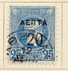 Greece 1900 Early Issue Fine Used 20l. Surcharged 326892