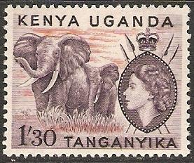 Kenya Uganda Tanganyika 1955 Scott 113 Queen&Elephants MNH