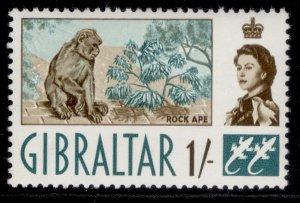 GIBRALTAR QEII SG169, 1s sepia & bluish green, NH MINT.