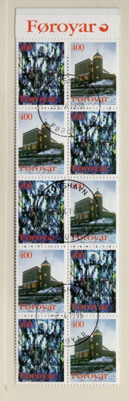 Faroe Islands Sc 294a 1995 Church of Mary stamp booklet pane used in booklet