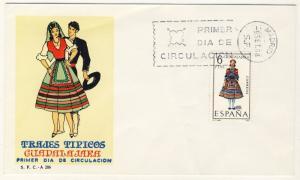 ESPAGNE / SPAIN / ESPAÑA - 1968 - TRAJES TIPICOS GUADALAJARA Mi.1776 FDC