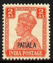 Indian States - Patiala 1941-46 KG6 2a vermilion unmounte...